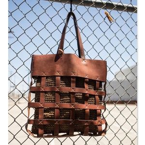 """Handbags - """"Open Weaved"""" Leather Tote"""